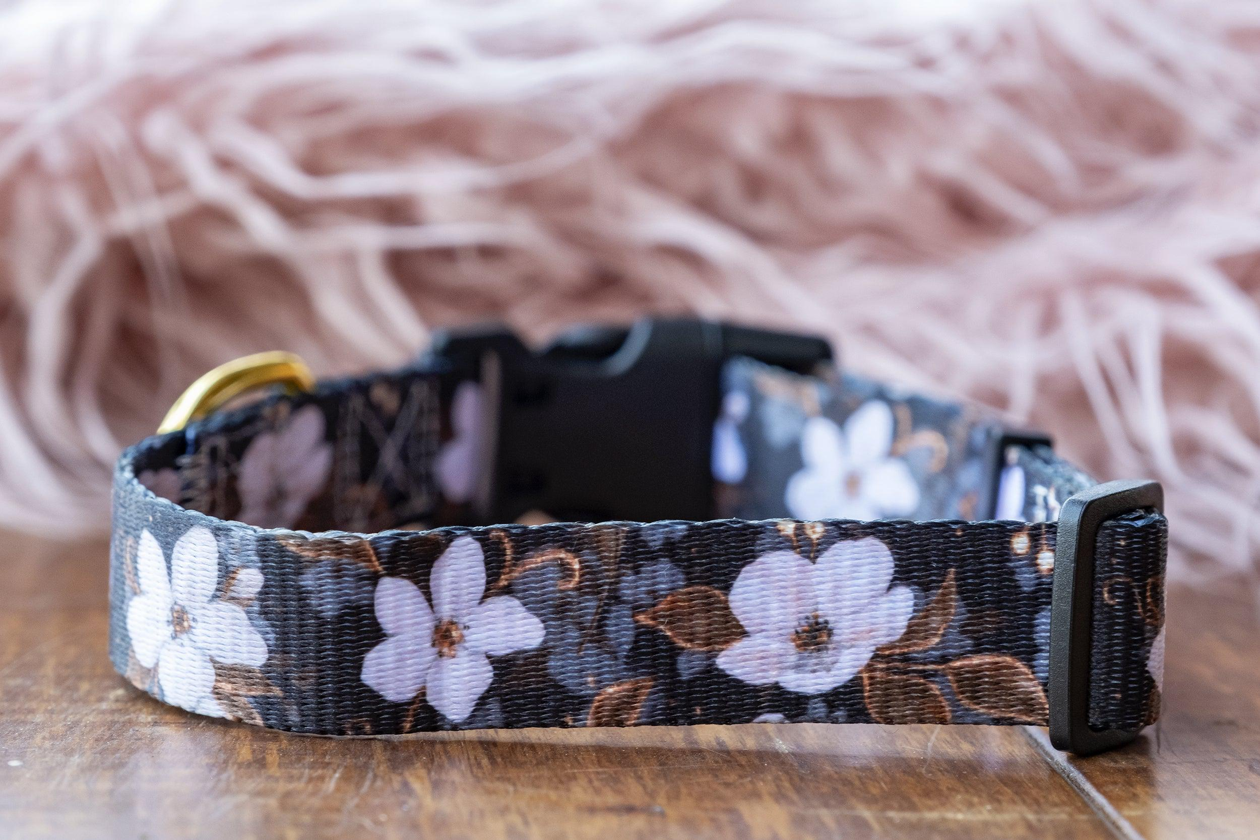 "Midnight Cherry Blossoms Dog Collar (Made to order in 3 days) ""Value Range""-Dog Collar-Dizzy Dog Collars"