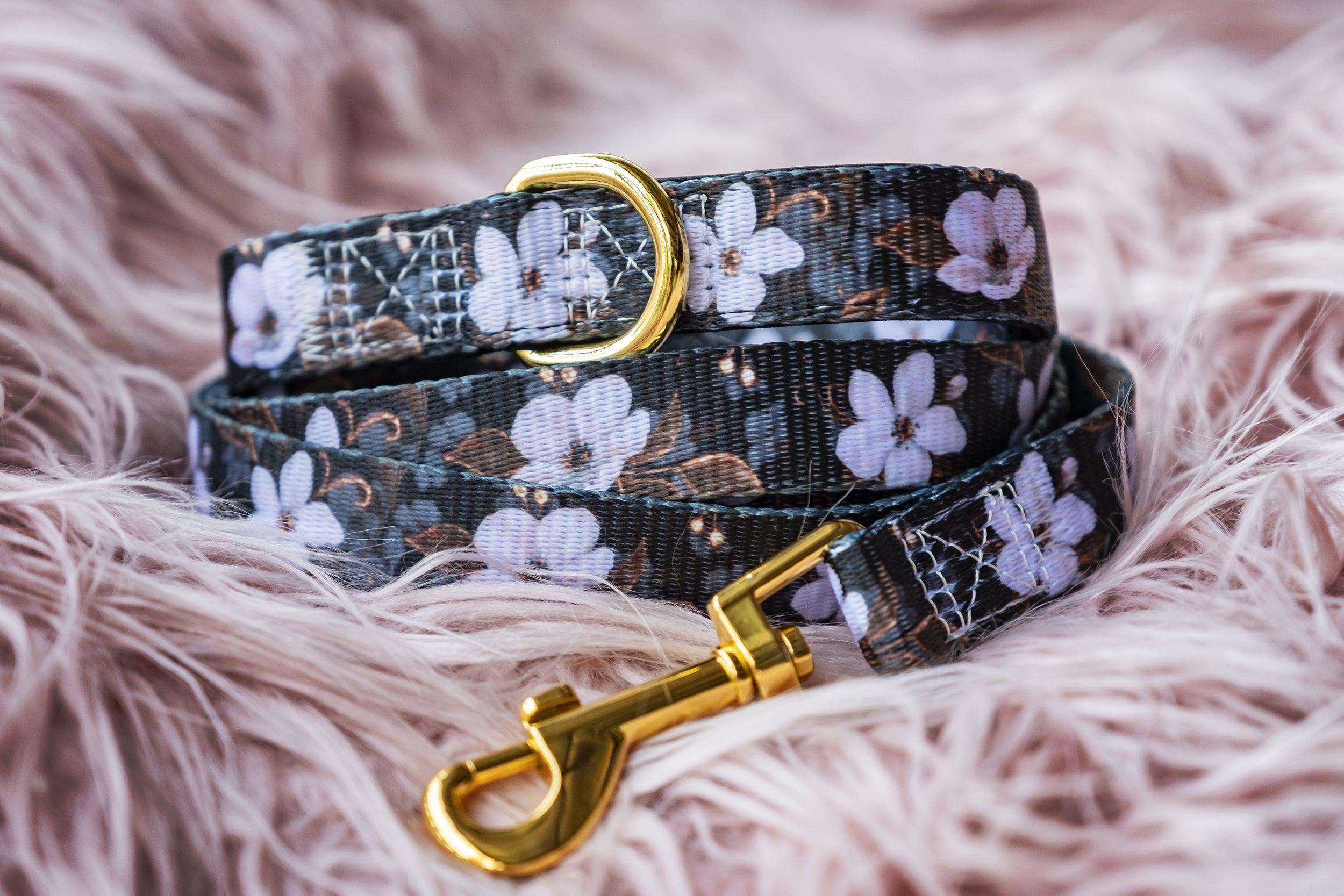 Midnight Cherry Blossoms Dog Leash (Pre-made)-Dizzy Dog Collars