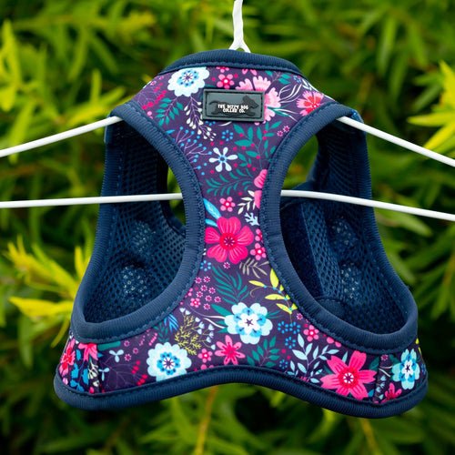 DOG HARNESS - Navy Floral- Step In Dog Harness