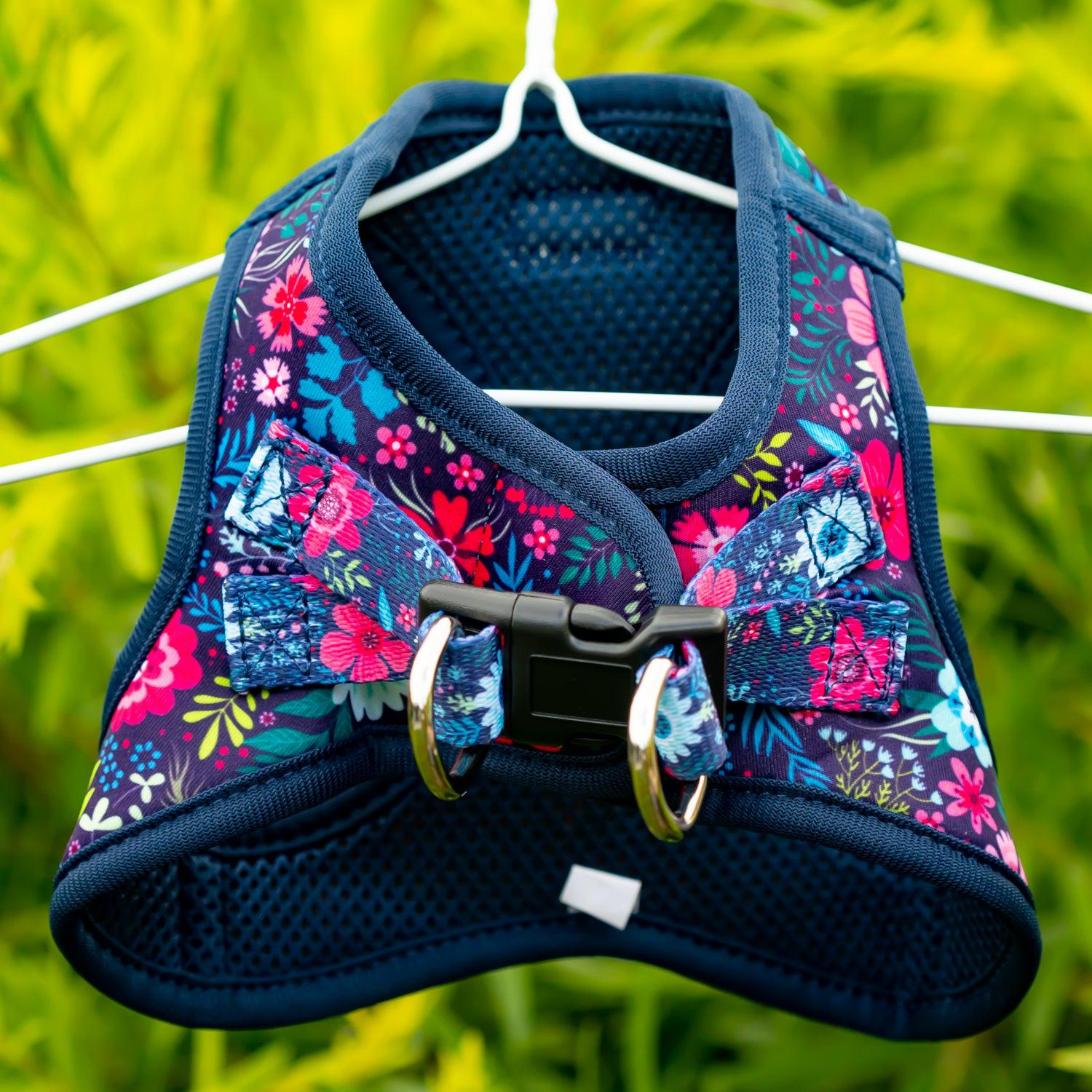 =DOG HARNESS - Navy Floral- Step In Dog Harness-Harness-Dizzy Dog Collars
