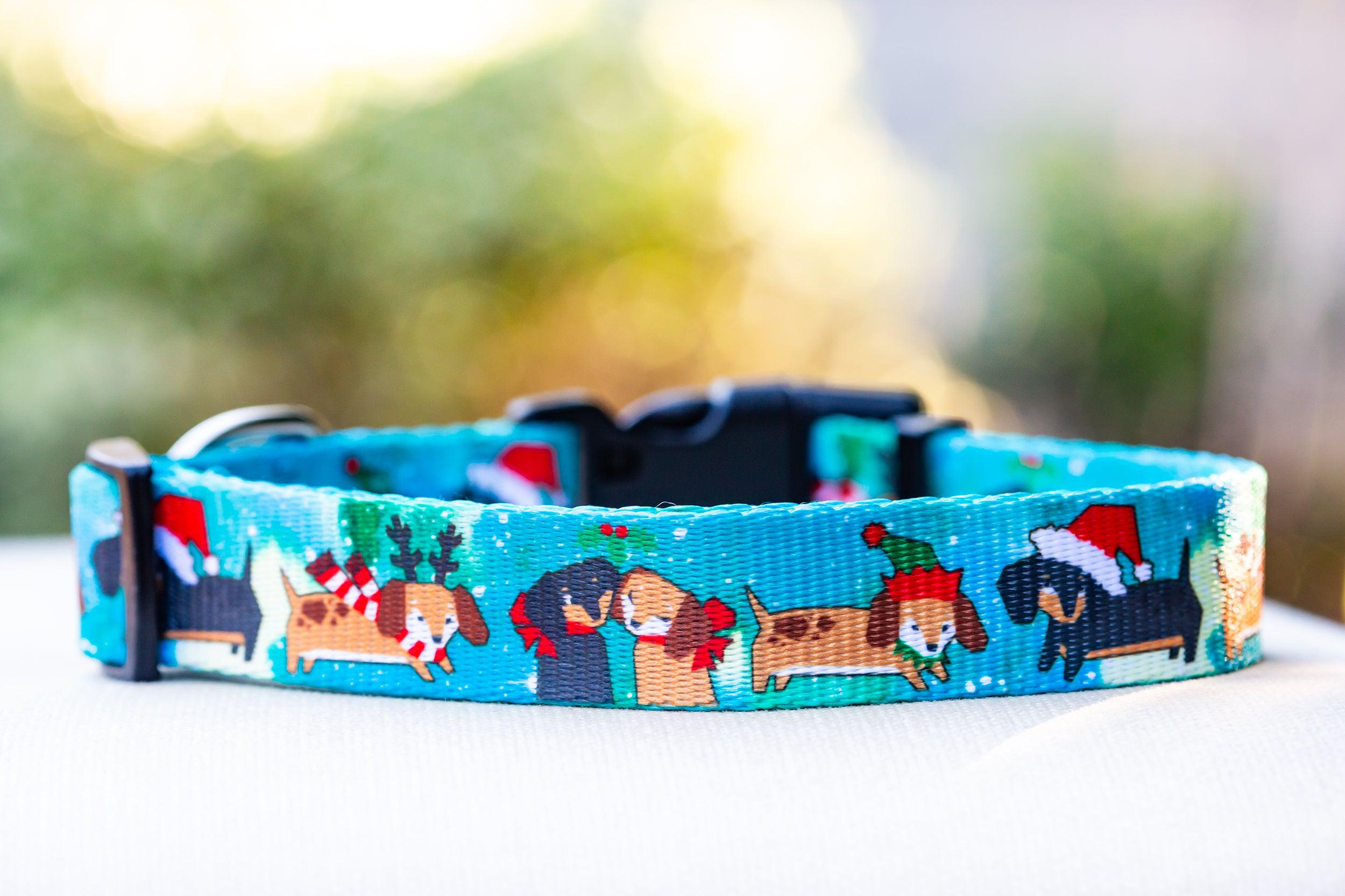 Mutts 'n' Mistletoe Dog Collar / Christmas Dog Collar (Premade)-Dog Collar-Dizzy Dog Collars