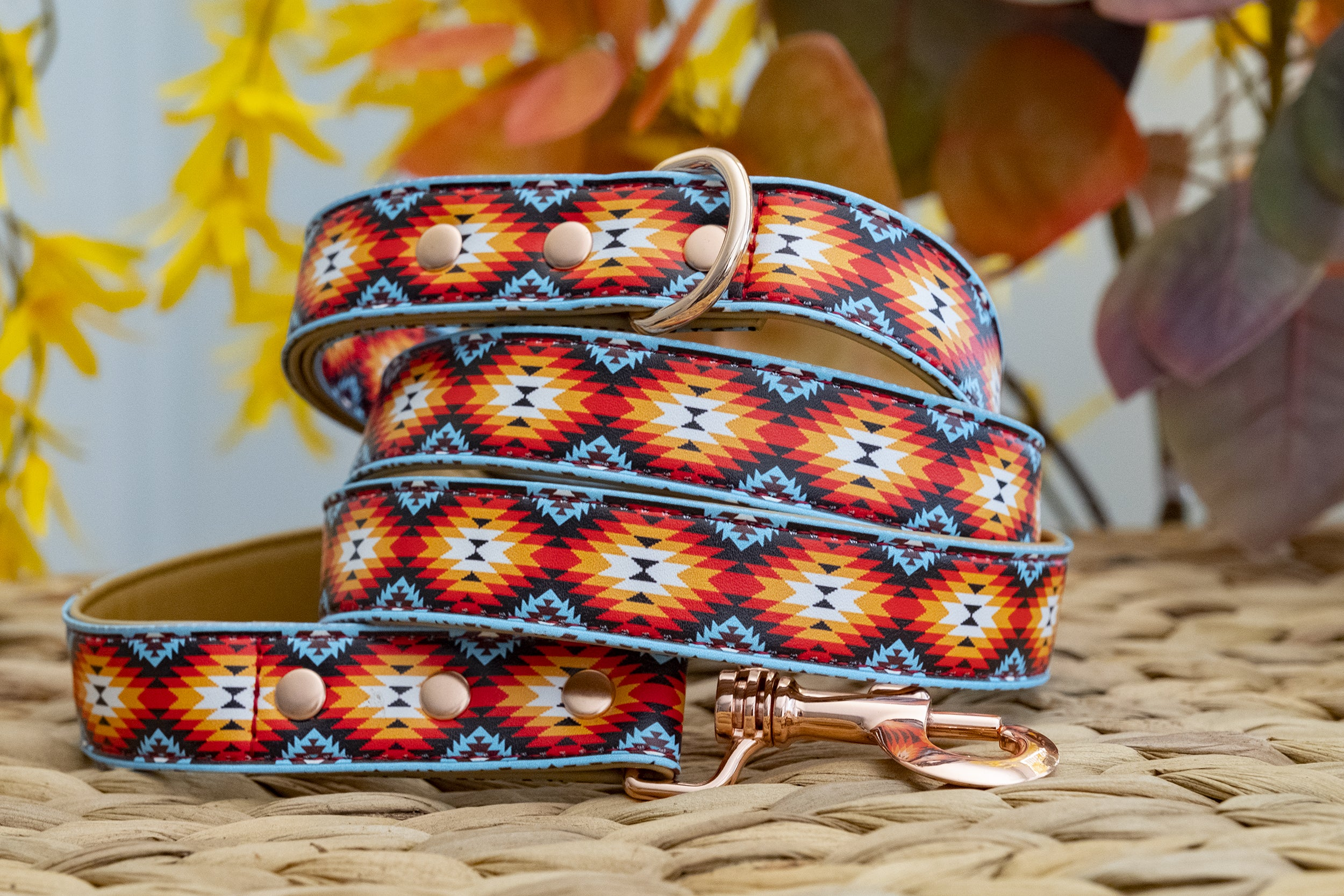 The Navajo: Rose Gold, Vegan Leather Dog Leash (Premade)-Dog Collar-Dizzy Dog Collars