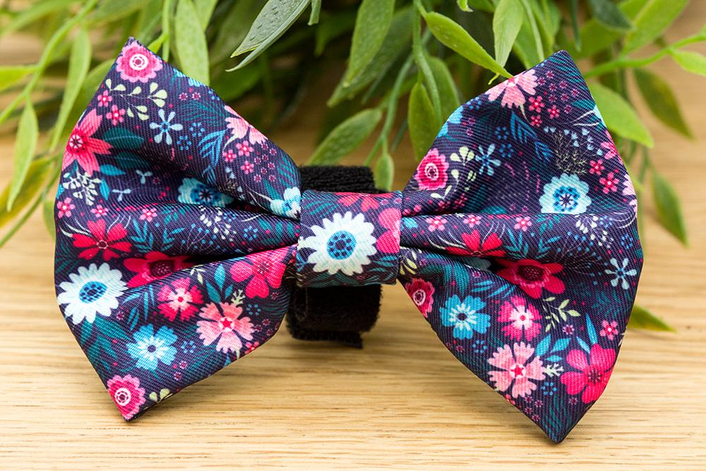 Navy Floral Bow Tie - Small & Large-Dizzy Dog Collars