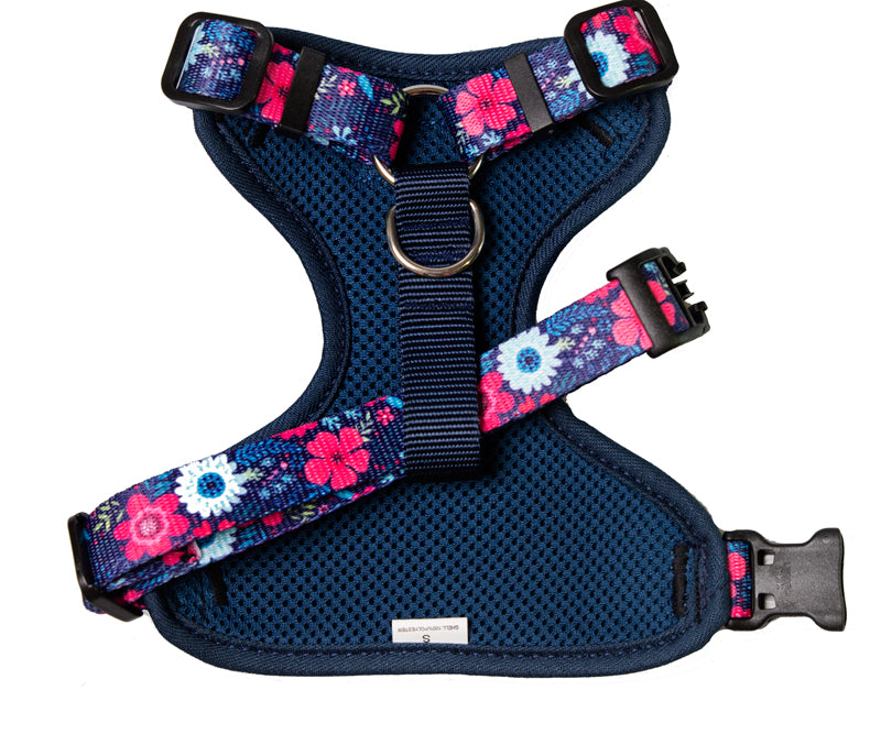 Navy Floral Comfort H-Harness - Handmade Dog Harness