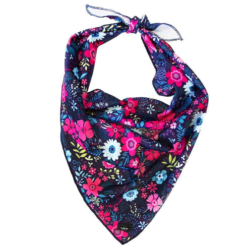 Navy Floral- Tie Up Dog Bandana