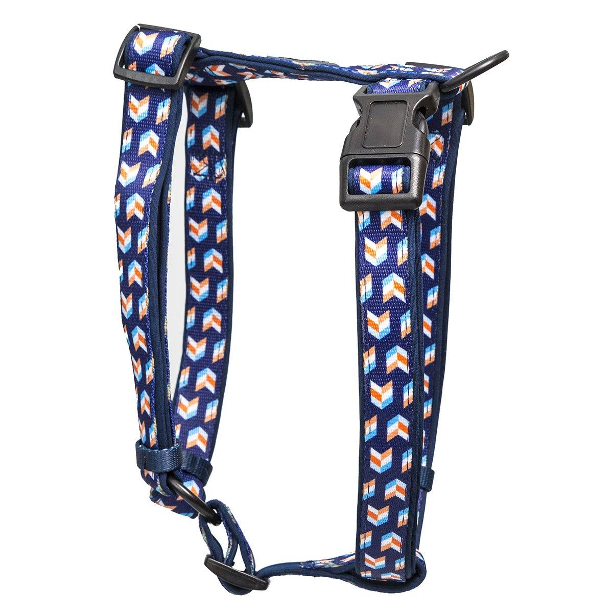 Navy Herringbone H-Harness (Neoprene Padding)-Dizzy Dog Collars-Small (2cm Wide)-Dizzy Dog Collars