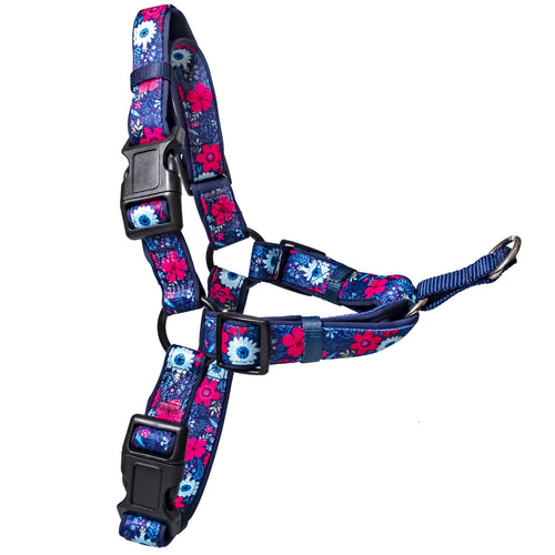 DOG HARNESS  - Front Clip Dog Harness - Navy Floral (Neoprene) (Handmade to order)