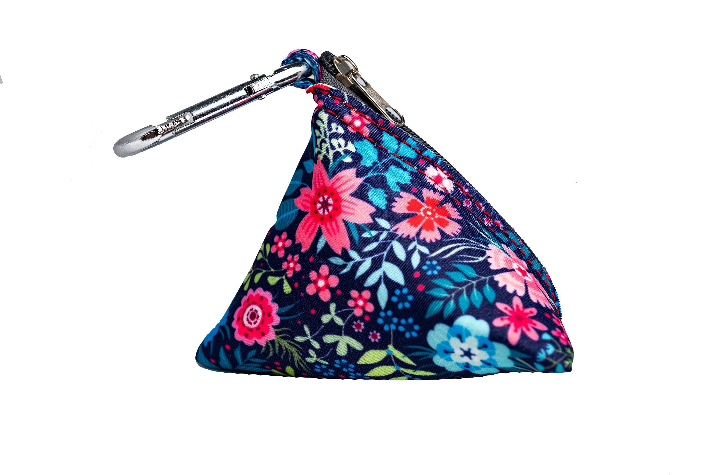 Navy Floral Pocket - For Poop Bags, Treat and/or Keys/Coins-Dizzy Dog Collars-Dizzy Dog Collars
