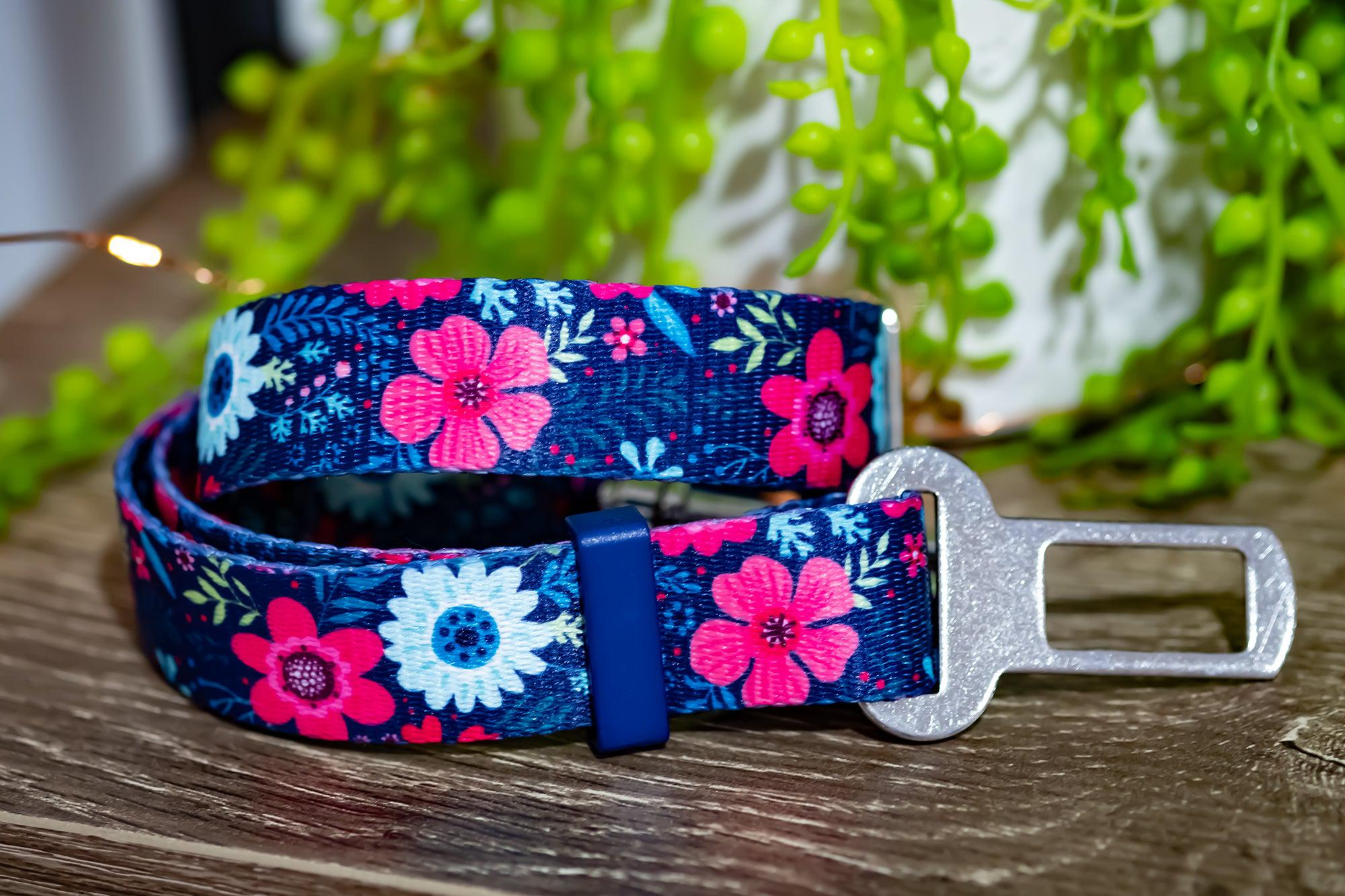Dog Seatbelt - Navy Floral-Dizzy Dog Collars-Dizzy Dog Collars
