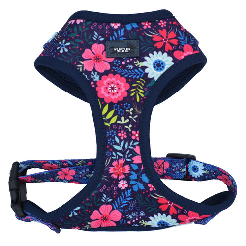 DOG HARNESS - Navy Floral - Neck Adjustable Harness
