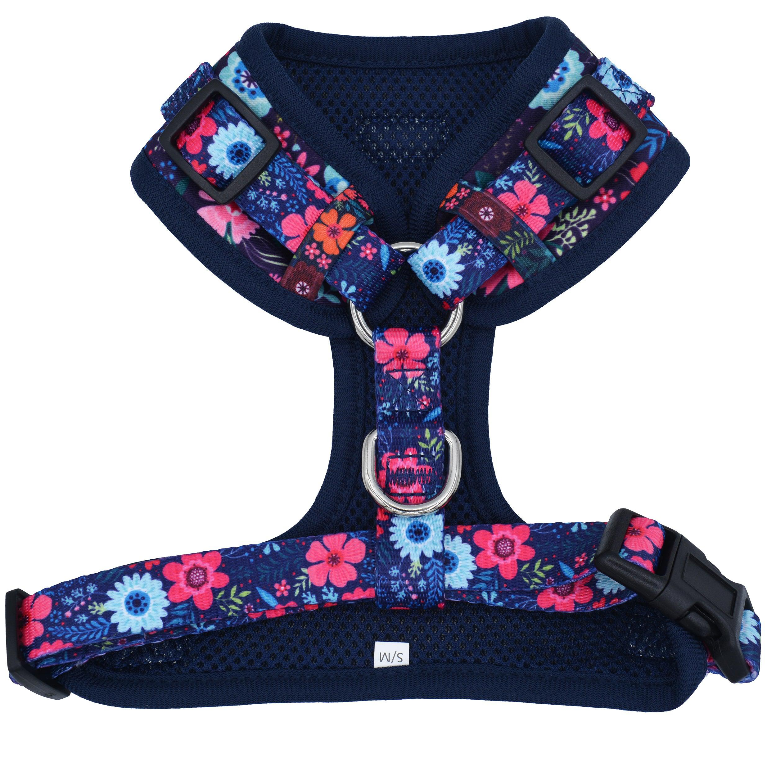 DOG HARNESS - Navy Floral - Neck Adjustable Harness (Premade)-Harness-Dizzy Dog Collars