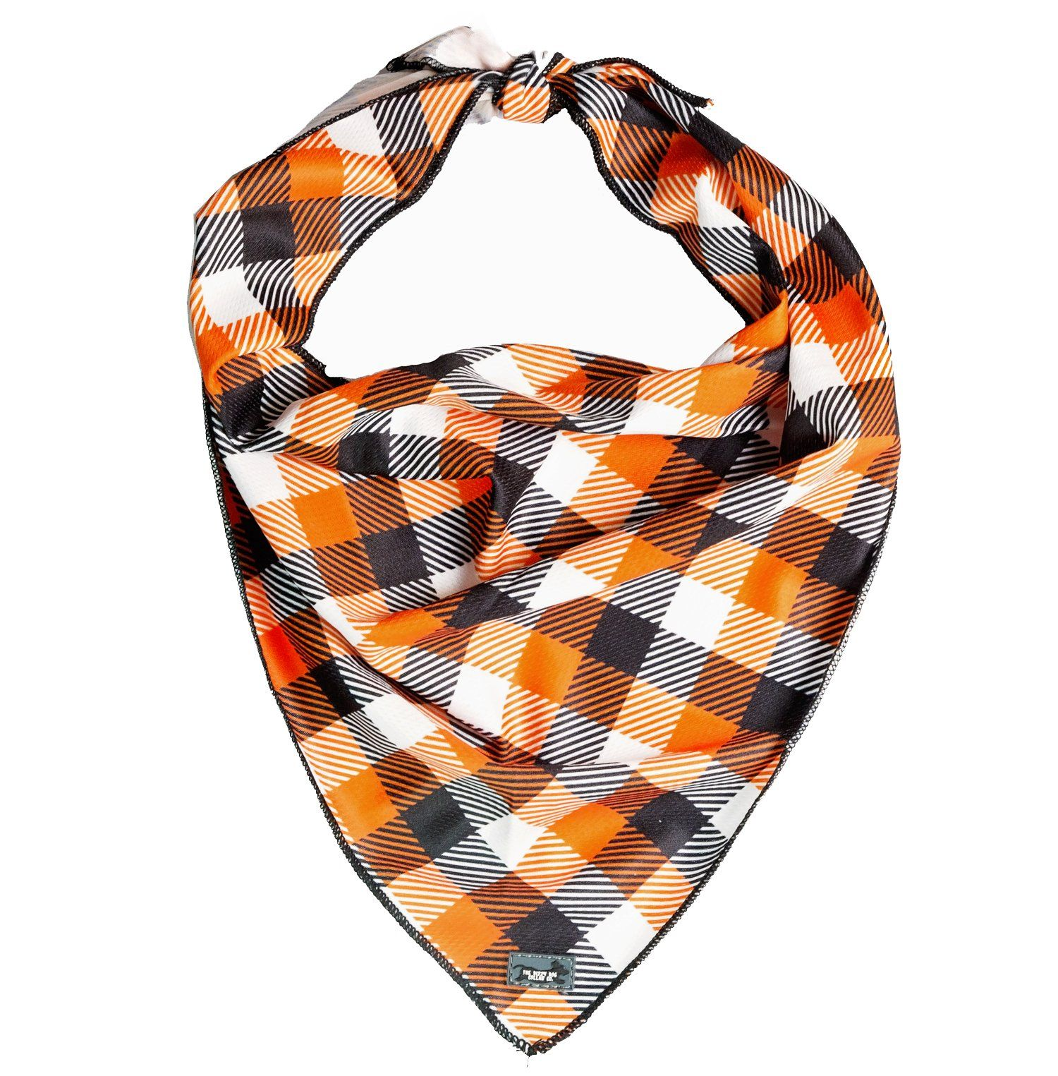 stunning orange plaid dog bandana, perfect for fall or autumn
