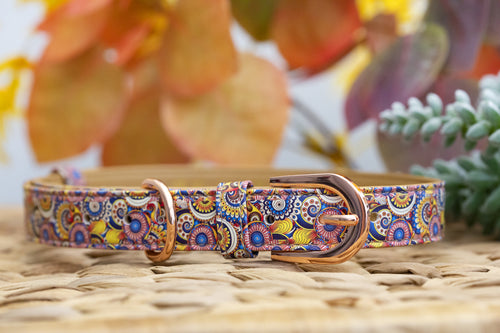 Patchwork Paisley: Rose Gold, Vegan Leather Dog Collar