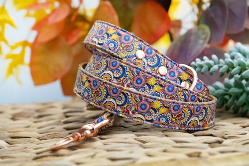 Patchwork Paisley: Rose Gold, Vegan Leather Dog Leash