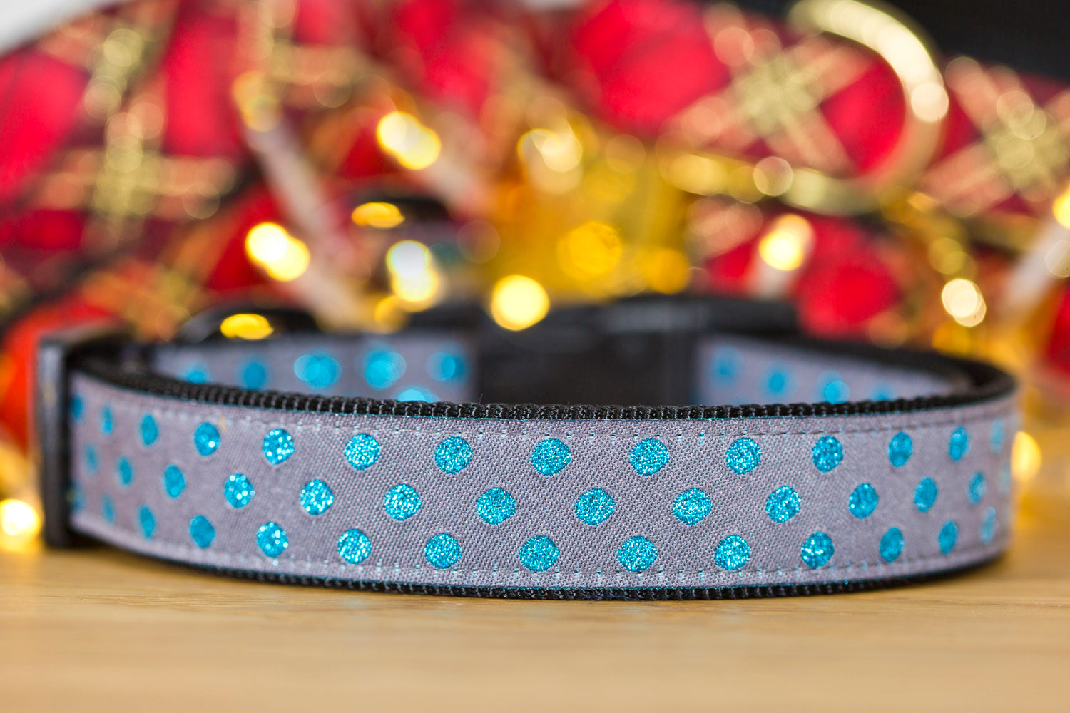 Petrol Blue Glitter Christmas Dog Collar XS-XL