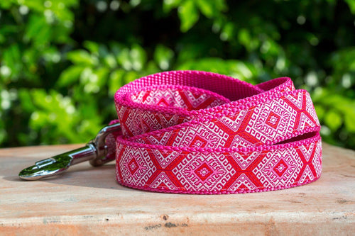 Pink Mexican Dog Leash (Handmade to order) *Currently unavailable whilst we catch up on handmade orders*