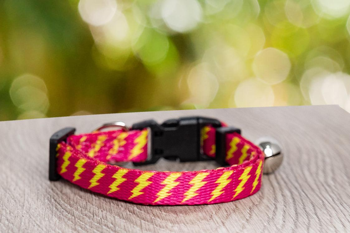Pink Bolt Cat Collar / Toy Breed Dog Collar-Dizzy Dog Collars-Dizzy Dog Collars