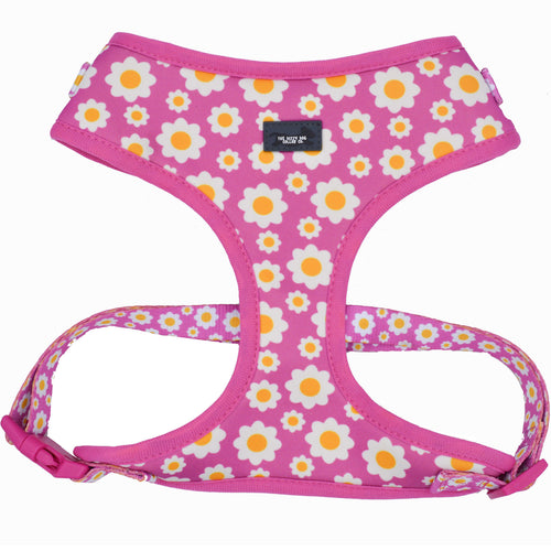 DOG HARNESS - Retro Pink Daisy - Neck Adjustable Harness