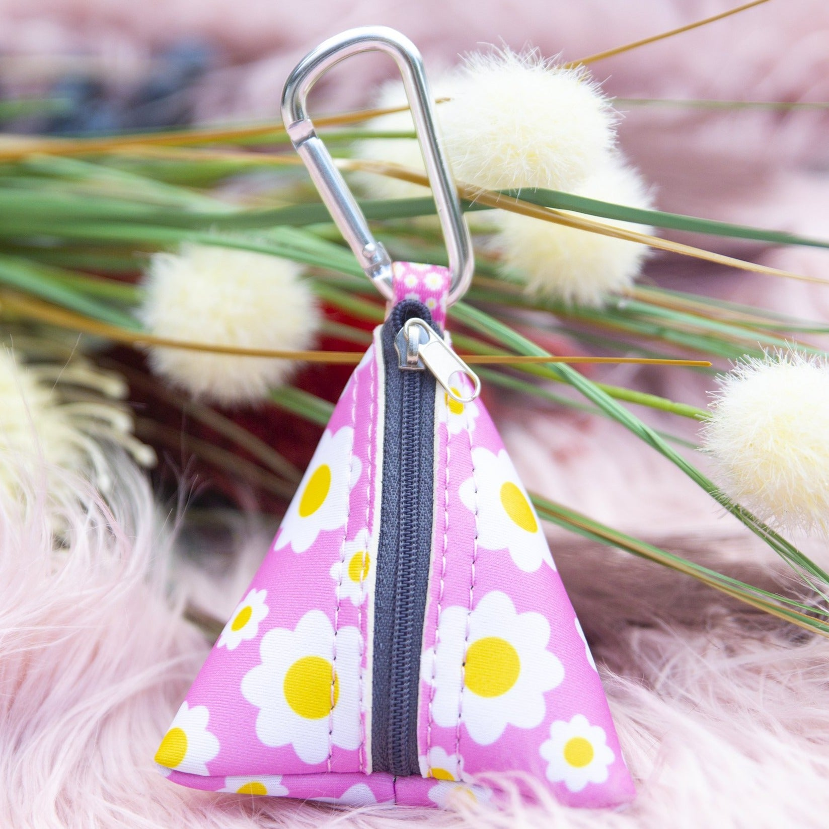 Retro Pink Daisy Pocket- For Poop Bags, Treat and/or Keys/Coins-Dizzy Dog Collars