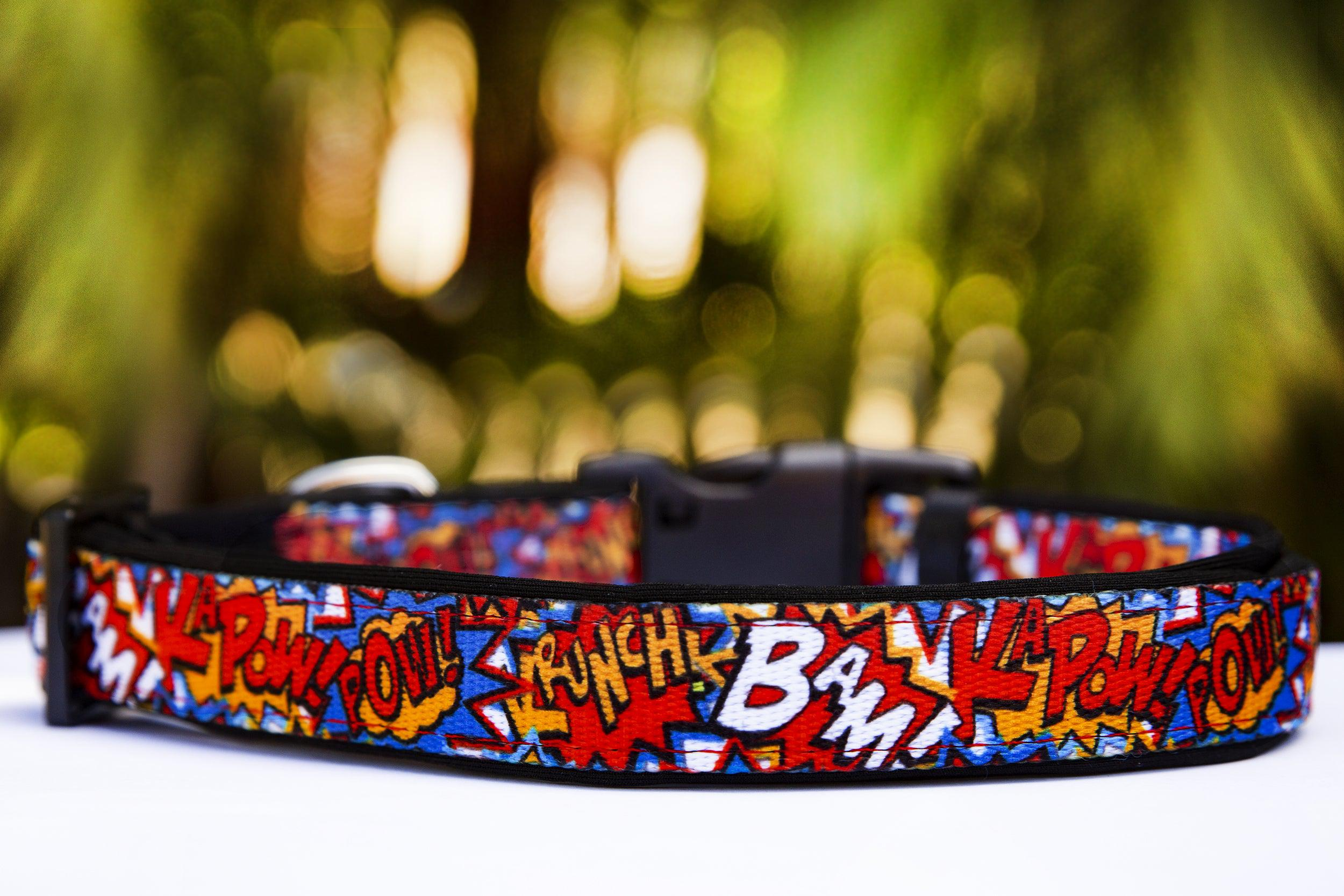 "Pop Art / Pop Culture Comic Book Dog Collar / XS-XL-Dog Collar-Dizzy Dog Collars-Extra Small 5/8"" (1.5cm) Wide-On Red-Dizzy Dog Collars"