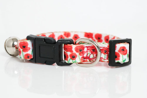 Poppies Cat Collar / Toy Breed Dog Collar