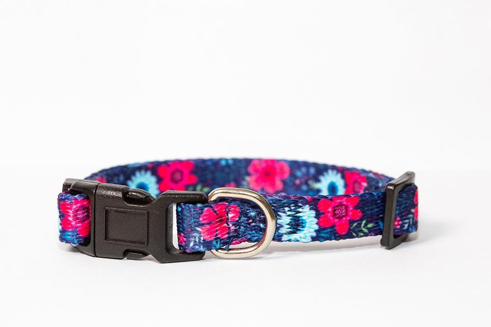 Navy Floral Cat Collar / Toy Breed Dog Collar / Puppy Collar-cat collar-Dizzy Dog Collars
