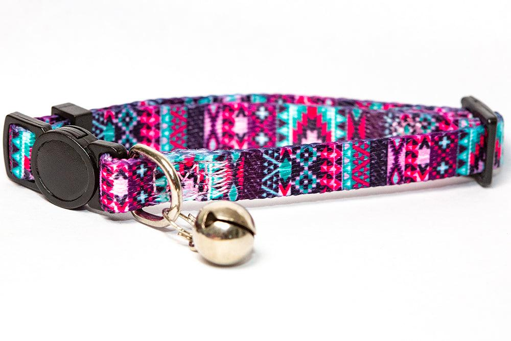 Purple Aztec Cat Collar / Toy Breed Dog Collar / Puppy Collar-cat collar-Dizzy Dog Collars