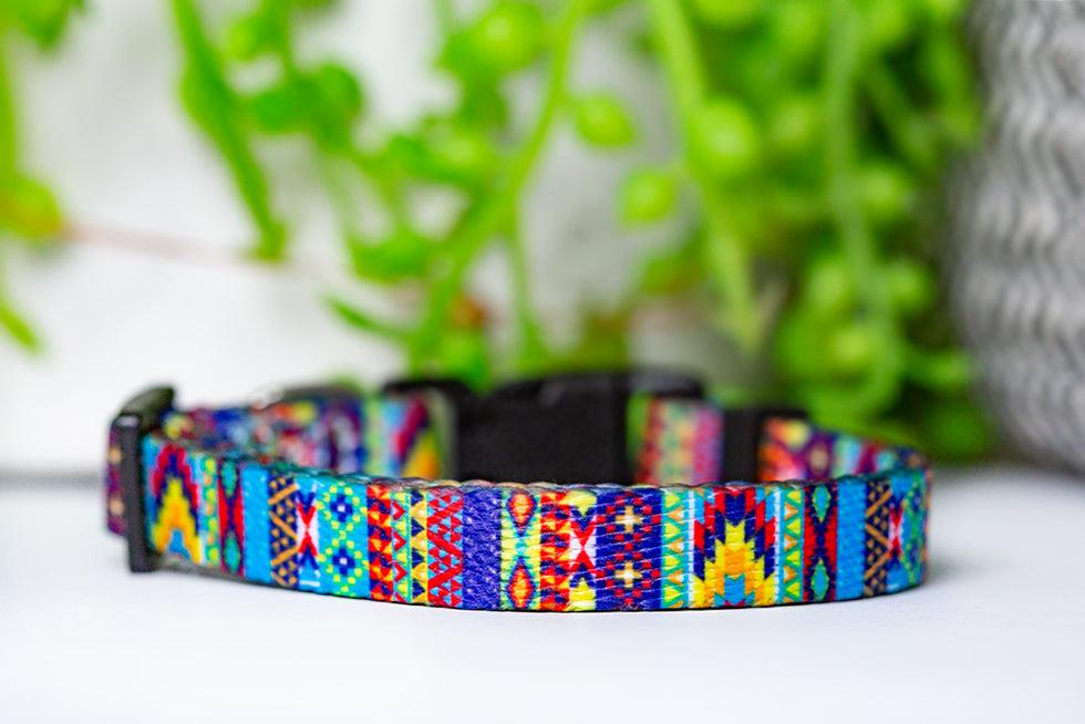 Summer Aztec Cat Collar / Toy Breed Dog Collar / Puppy Collar-cat collar-Dizzy Dog Collars