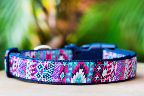 Purple Aztec Dog Collar XS-XL (Navy Nylon)