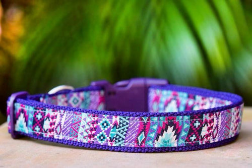 Purple Aztec Dog Collar XS-XL (Purple Nylon)