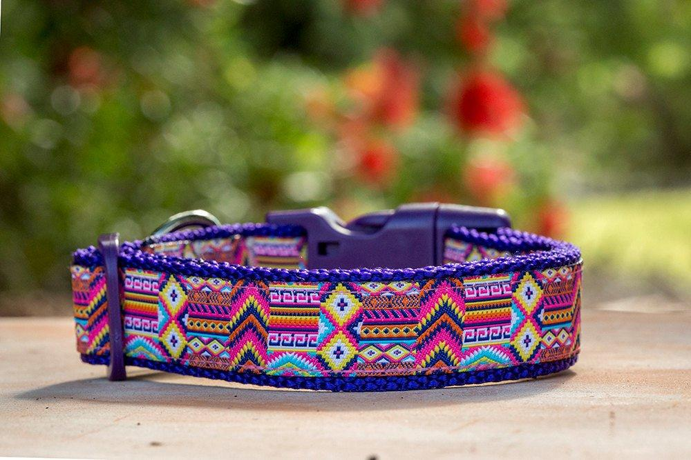 "Purple & Pink Abstract Pattern Dog Collar / XS-XL-Dizzy Dog Collars-XS 1.5cm (5/8"") Wide-Purple-Dizzy Dog Collars"