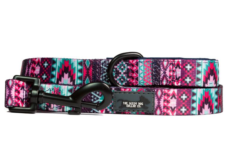 Purple Aztec Dog Leash-Dizzy Dog Collars
