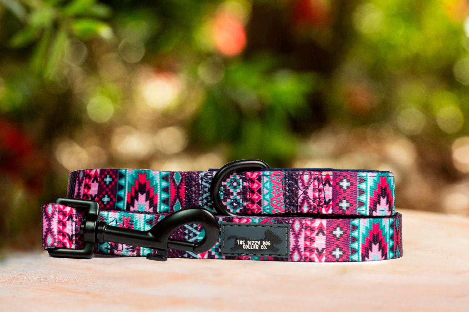 Purple Aztec Dog Leash (Premade)-Dizzy Dog Collars