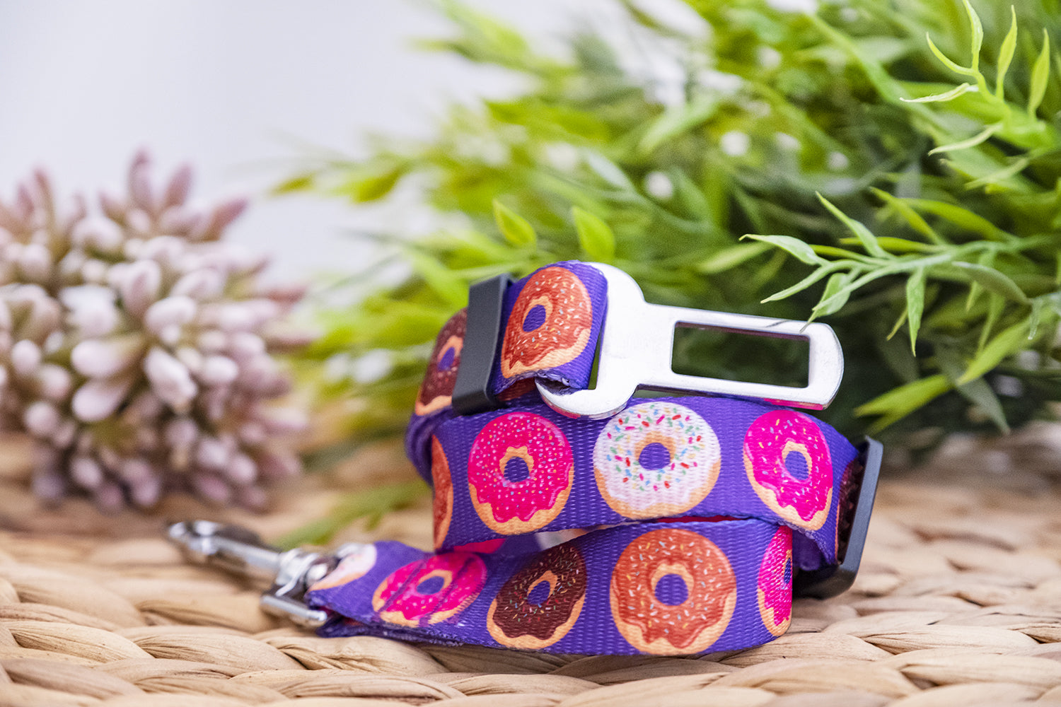 Dog Car Seatbelt / Dog Car Restraint Tether - Purple Donuts (Handmade to order)-Dizzy Dog Collars