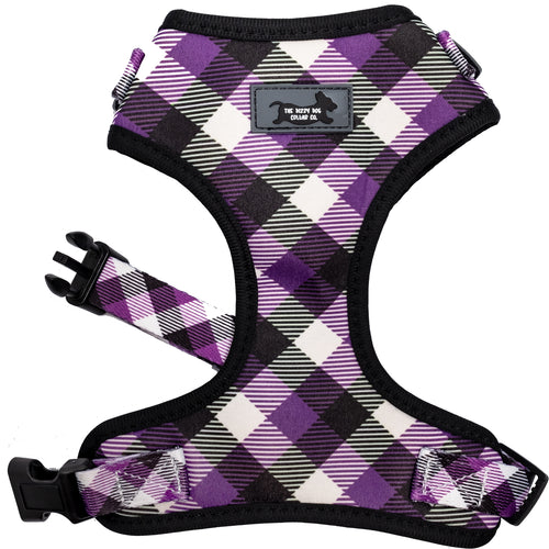 DOG HARNESS - Purple Plaid - Neck Adjustable Harness