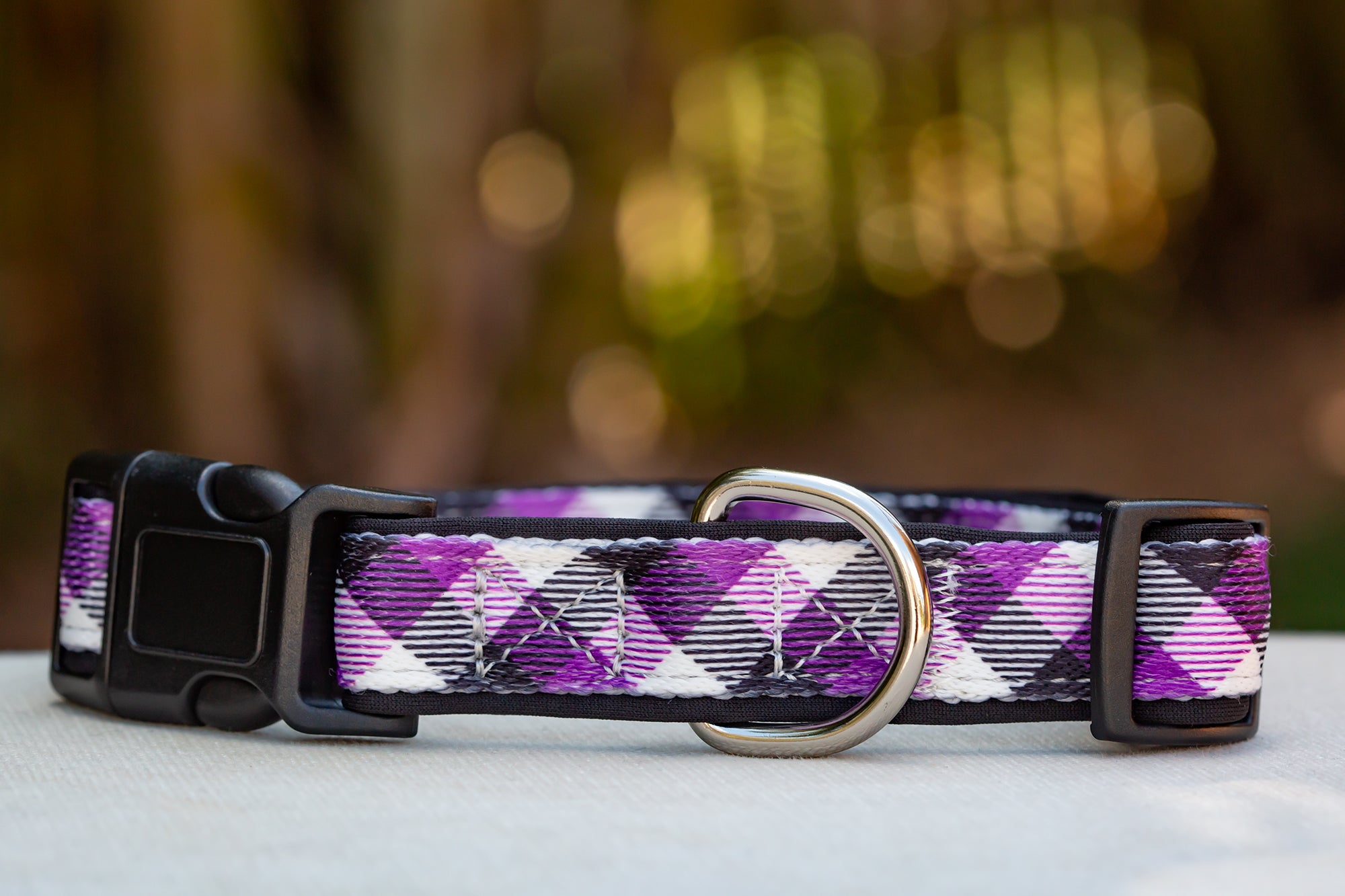Purple Plaid Dog Collar (Neoprene)-Dizzy Dog Collars-Dizzy Dog Collars