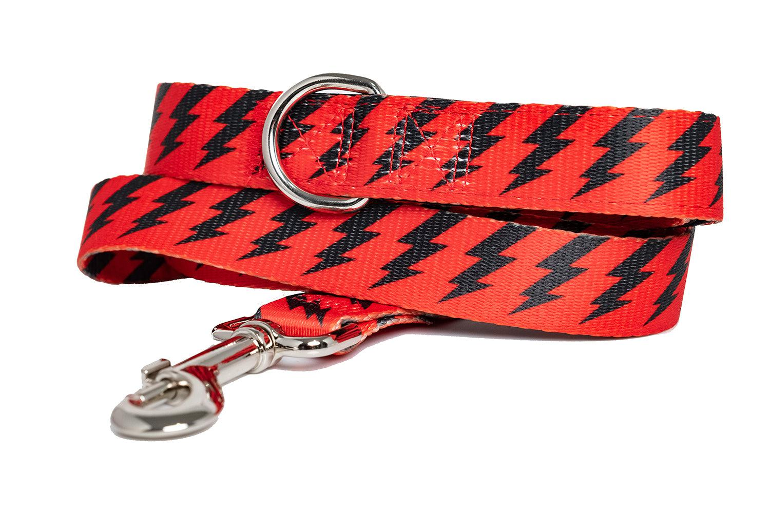 Red & Black Bolt Dog Leash (Neoprene)-Dizzy Dog Collars-Dizzy Dog Collars