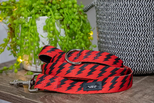 Red & Black Bolt Dog Leash (Neoprene)