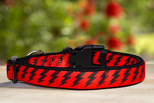 Red & Black Bolt Dog Collar (With Neoprene Padding)