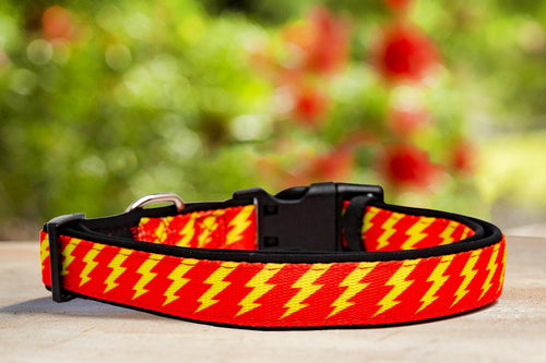Red & Yellow Bolt Dog Collar (With Neoprene Padding)