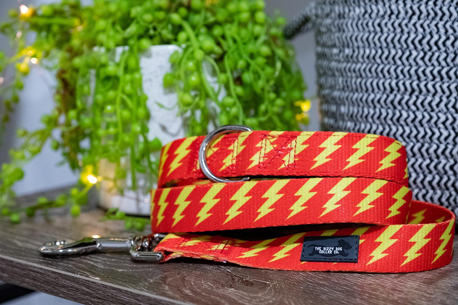 Red & Yellow Bolt Dog Leash (Neoprene)-Dizzy Dog Collars-Dizzy Dog Collars