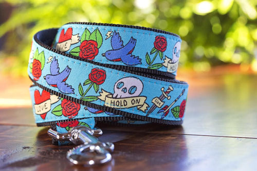 "Rockabilly Tattoo Dog Leash (to match 1.5"" extra wide collar) (Handmade to order)"