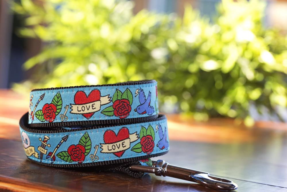 Rockabilly Tattoo Dog Leash-Dizzy Dog Collars-Dizzy Dog Collars