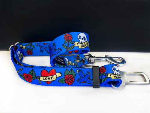 Dog Car Seatbelt / Dog Car Restraint Tether -  Rockabilly (Handmade in 2 days)