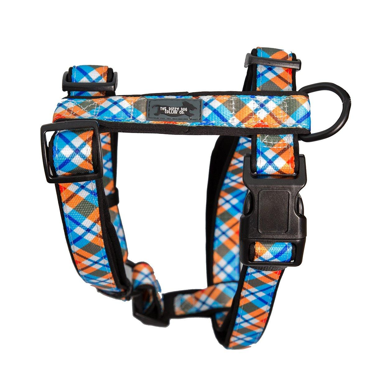 Roma Plaid H-Harness (Neoprene Padding)-Dizzy Dog Collars-Small (2cm Wide)-Dizzy Dog Collars