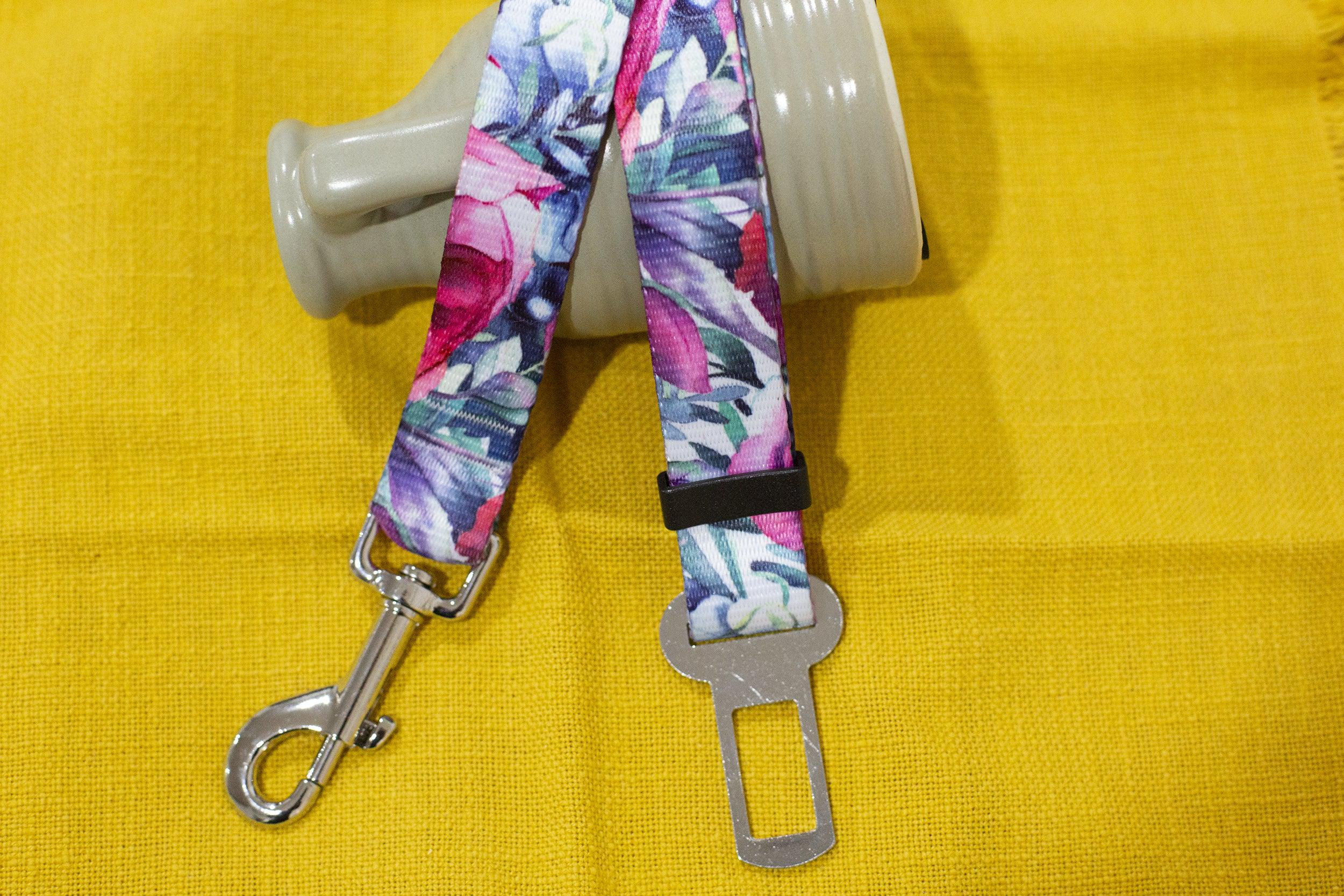 Dog Car Seatbelt / Dog Car Restraint Tether - Rose Blossoms (Handmade in 2 days)-Dizzy Dog Collars