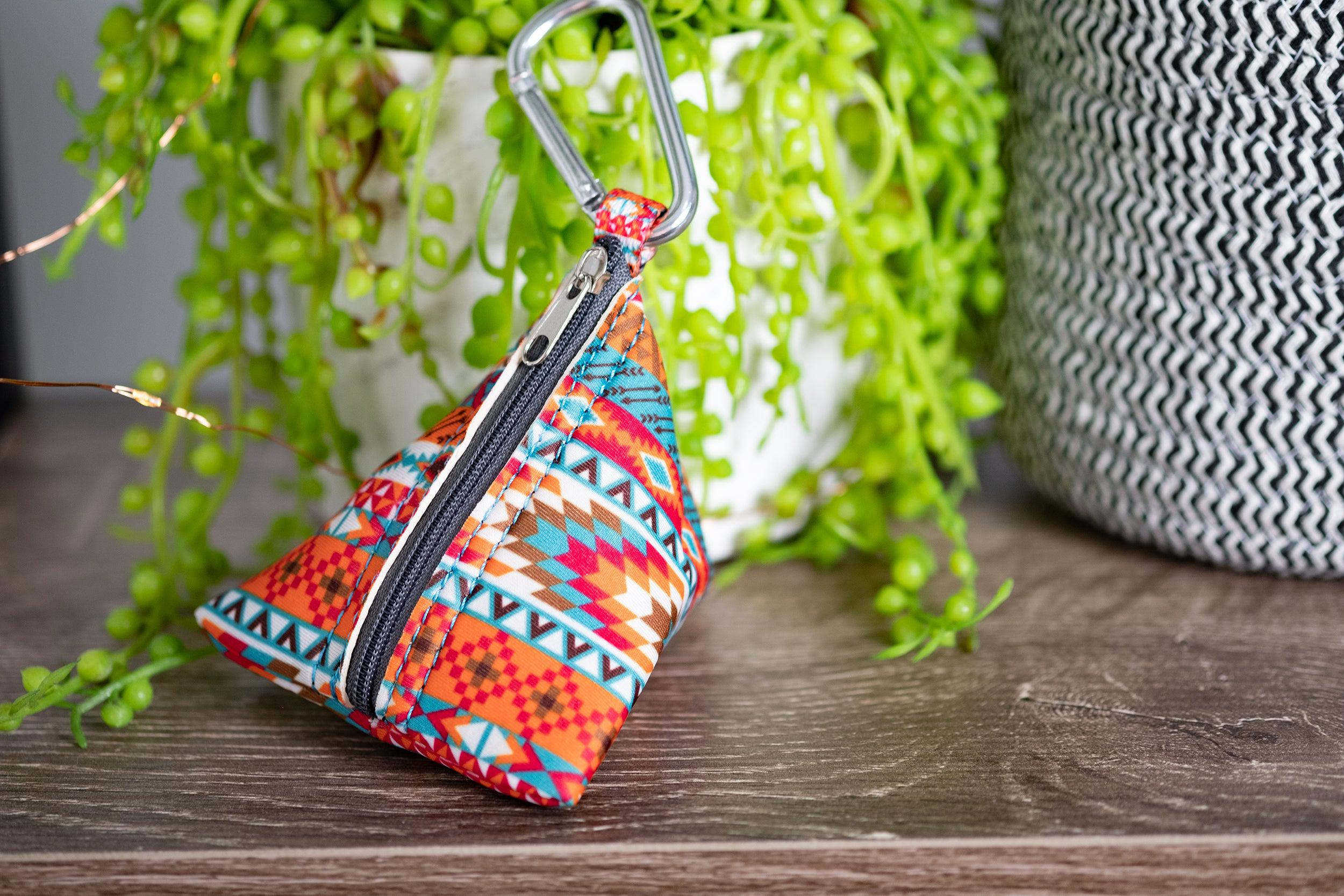 Rustic Aztec Pocket - For Poop Bags, Treat and/or Keys/Coins-Dizzy Dog Collars-Dizzy Dog Collars