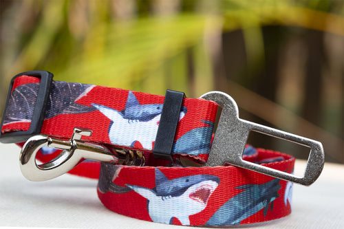 Dog Car Seatbelt / Dog Car Restraint Tether - Red Sharks (Premade)