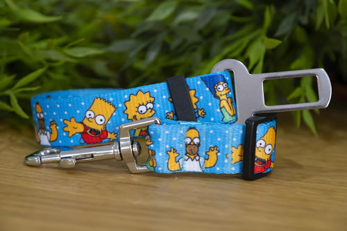 Dog Car Seatbelt / Dog Car Restraint Tether - The Simpsons (Handmade to order)
