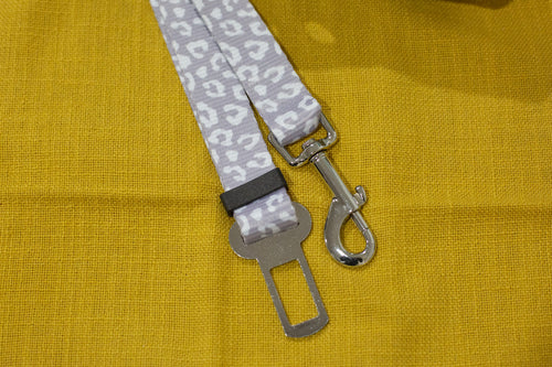 Dog Car Seatbelt / Dog Car Restraint Tether - Snow Leopard (Handmade in 2 days)